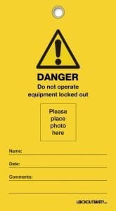 Danger Photo ID Lockout Tags