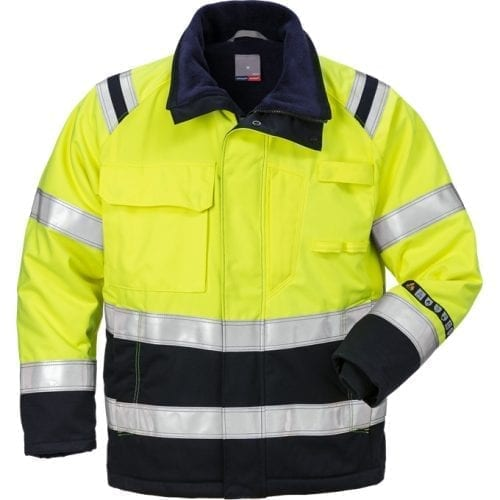 FRIS 4185 FRISTADS Winter Jacket 4185 ATHS Hi Vis Yellow Navy